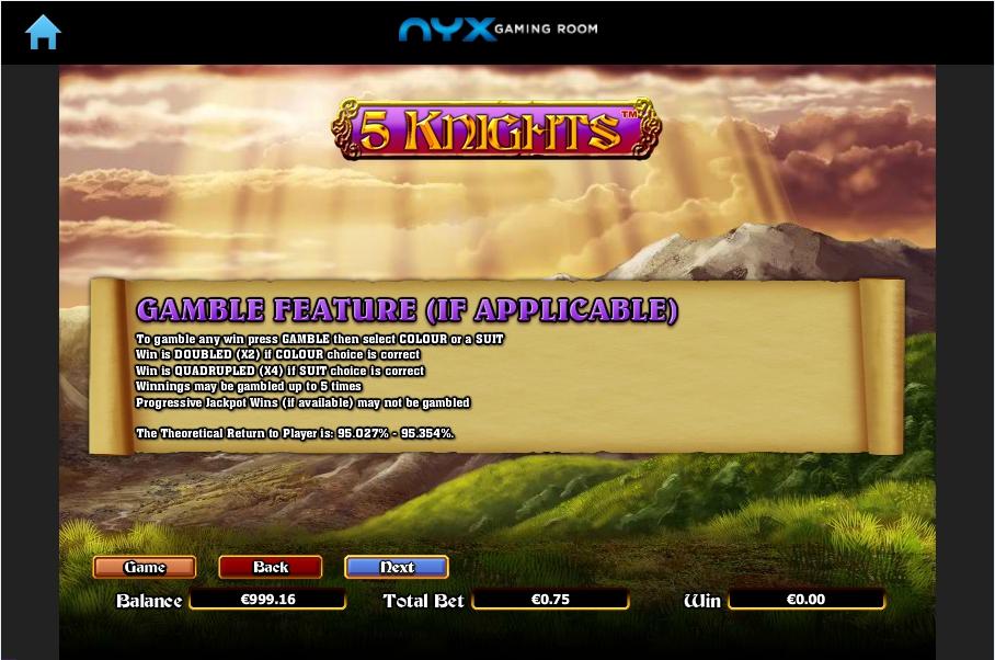 5 knights slot machine detail image 1