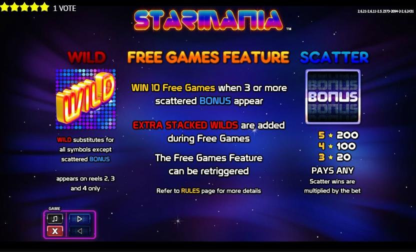 Слот Starmania от Nextgen Gaming Features