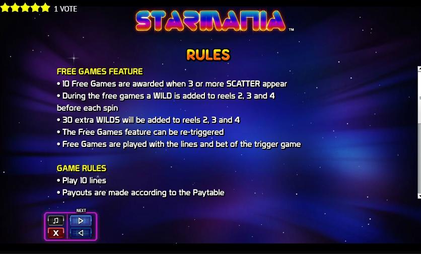 Игровой автомат Starmania от Nextgen Gaming Rules