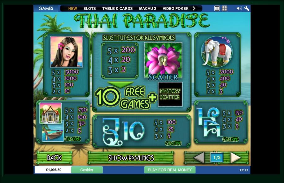 Free Play Slot Games Thai Paradise