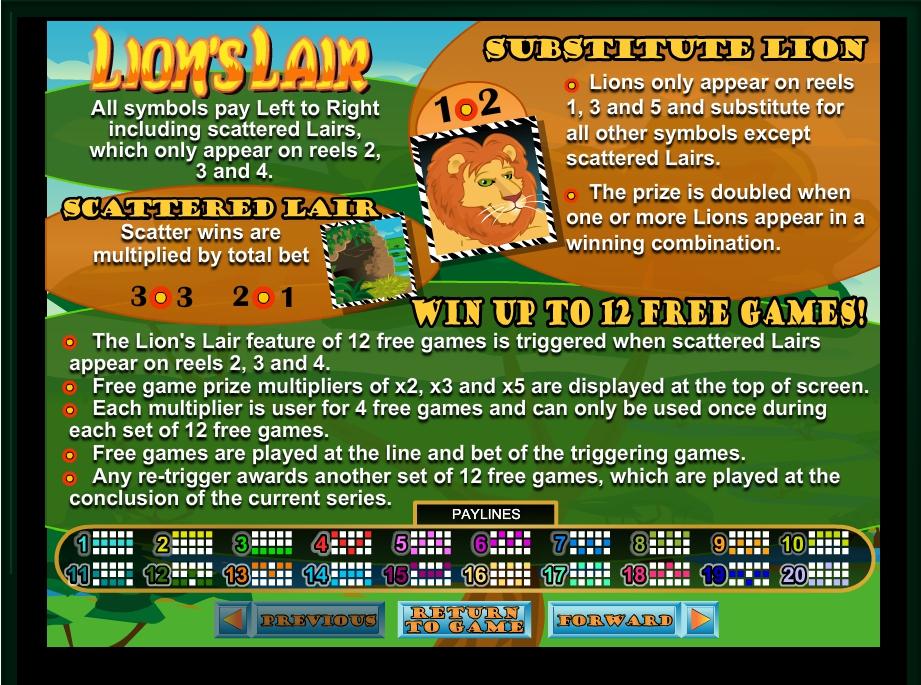 lion's lair slot machine detail image 2