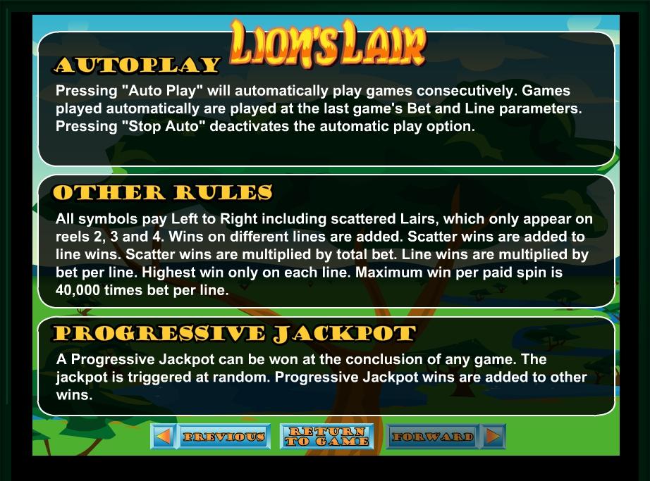 lion's lair slot machine detail image 0