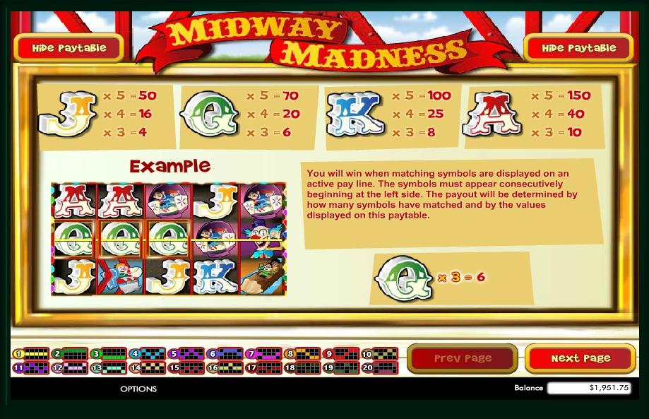 midway madness slot machine detail image 2
