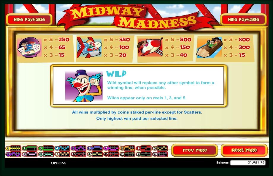 midway madness slot machine detail image 1