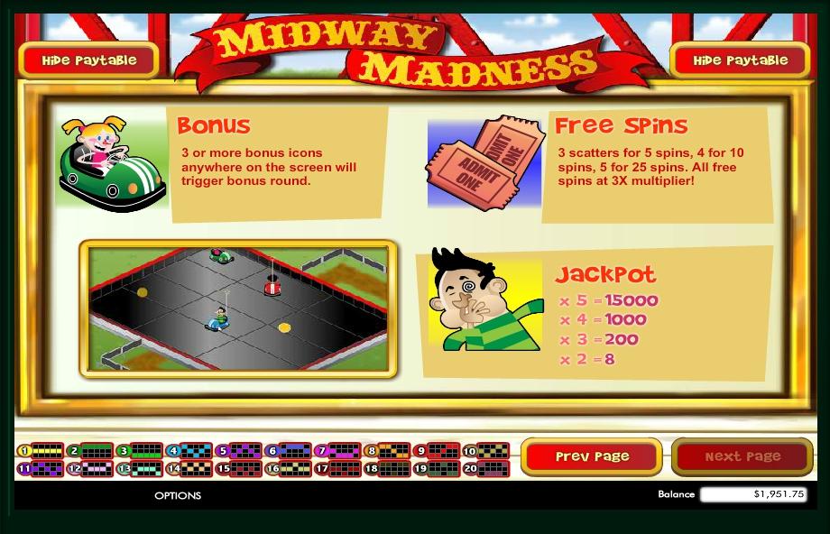 midway madness slot machine detail image 0