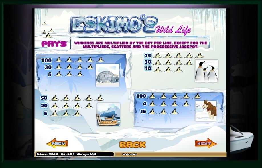 eskimo's wild life slot machine detail image 3