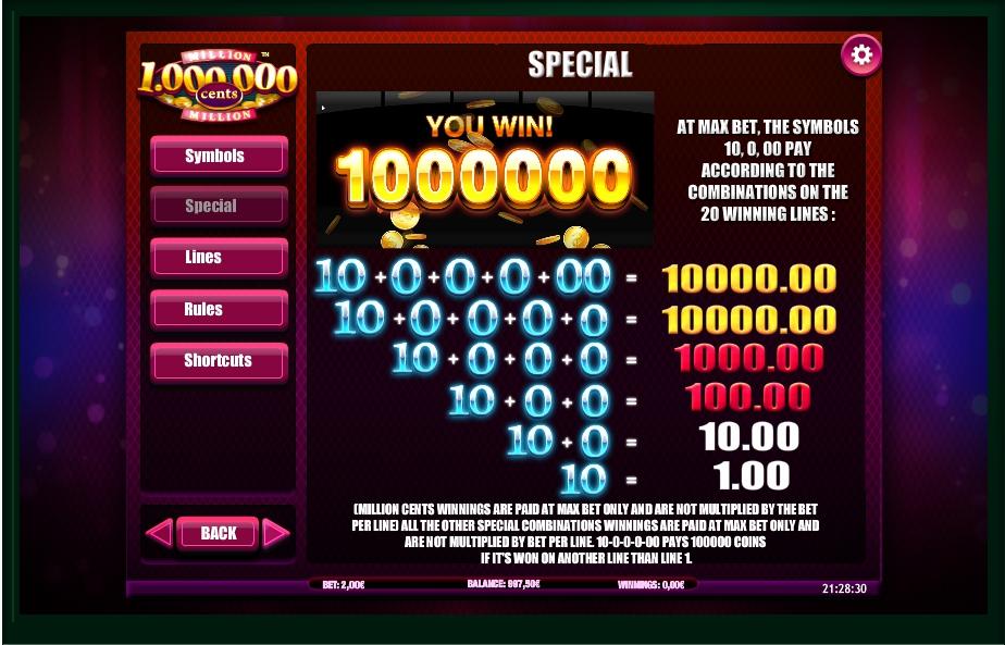 million cents slot machine detail image 3