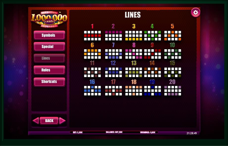 million cents slot machine detail image 2