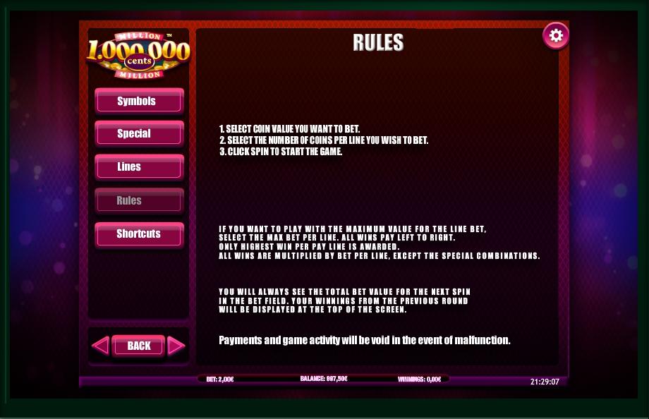 million cents slot machine detail image 1