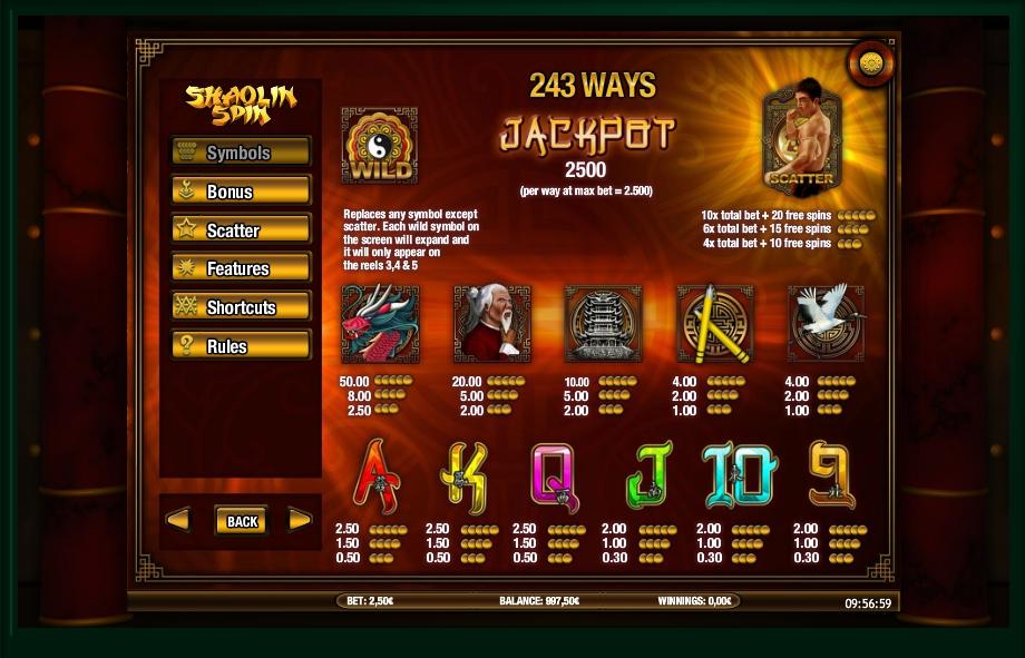 shaolin spin slot machine detail image 5