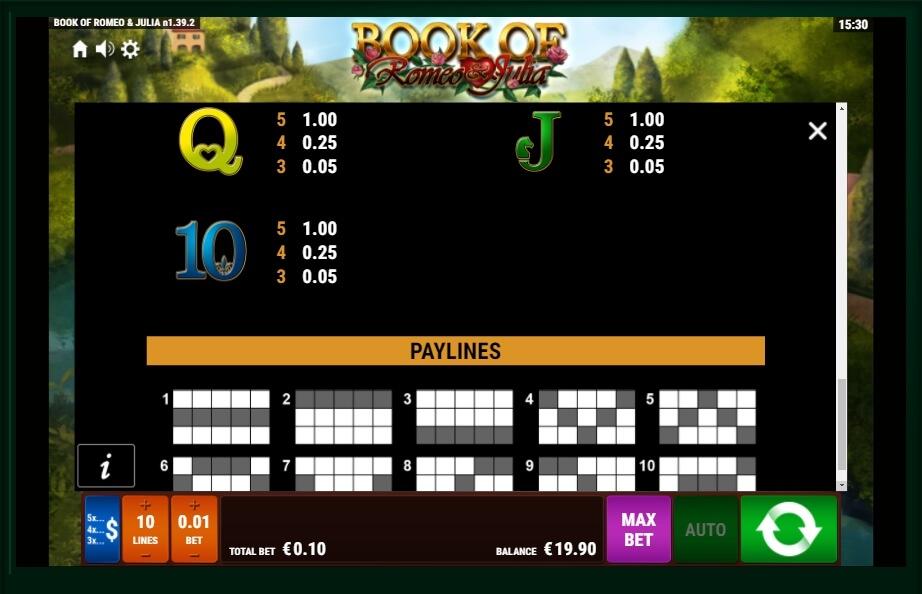Book Of Romeo And Julia Slot Machine