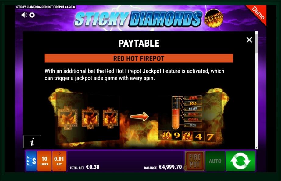 Sticky Diamonds Red Hot Firepot Slot Machine