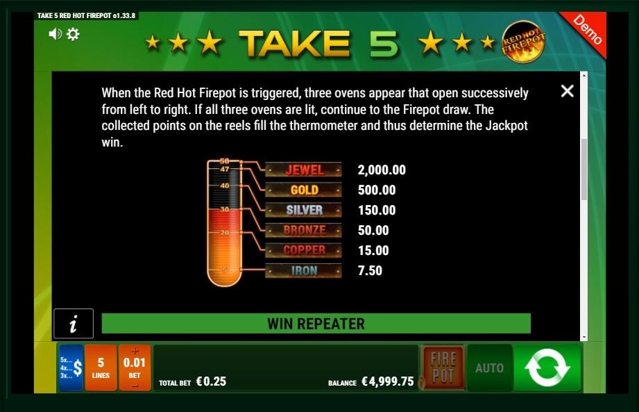 Take 5 Red Hot Firepot Slot Machine