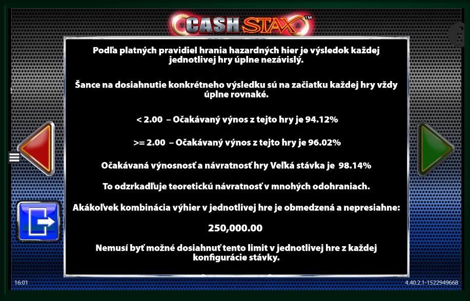 Cash stax slot machine online barcrest rewards rtp tokens