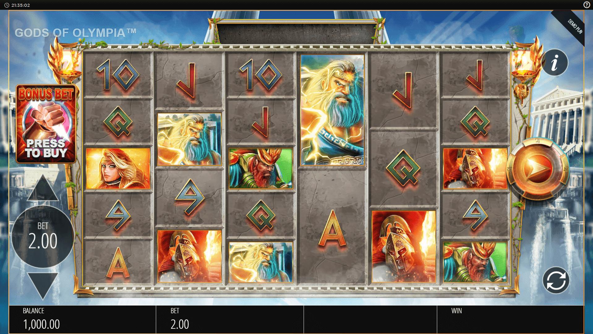 Gods of Olympus Megaways slot machine screenshot