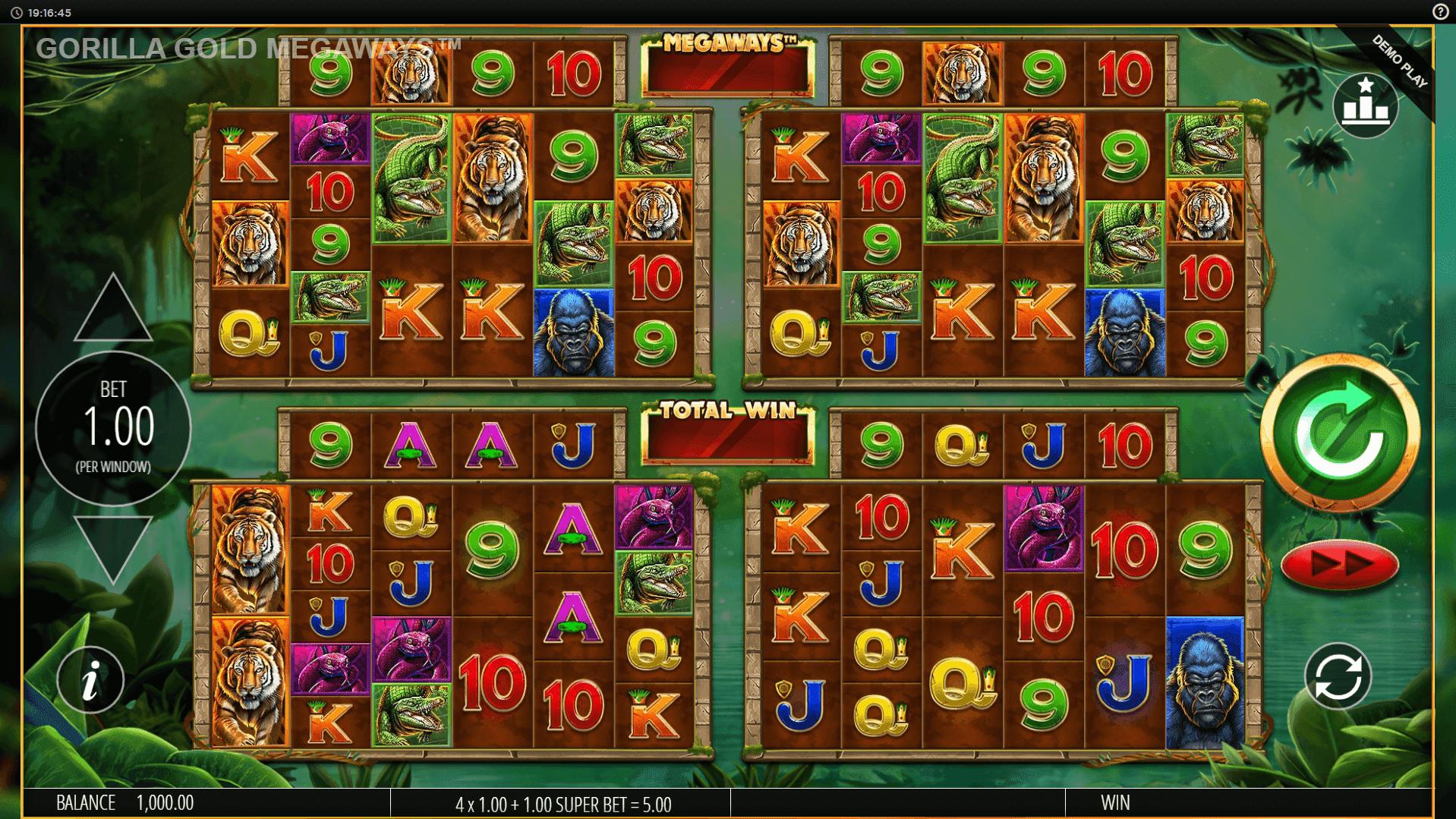 Gorilla Gold Megaways slot machine screenshot