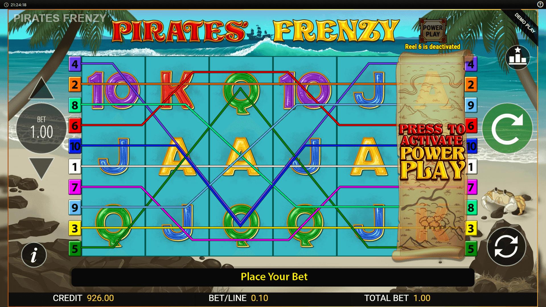 Pirates Frenzy slot machine screenshot