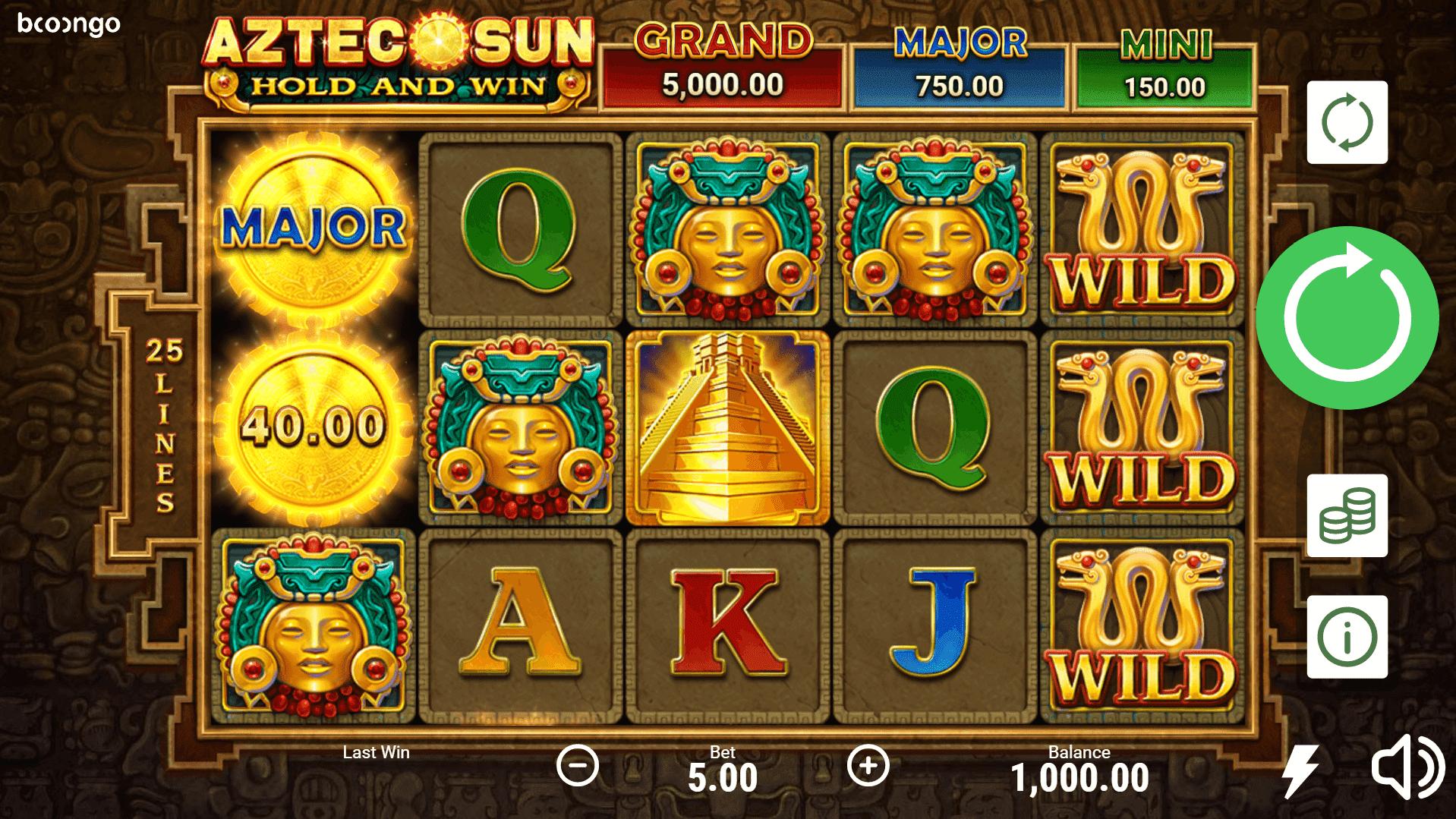 Aztec Sun Hold and Win slot machine screenshot