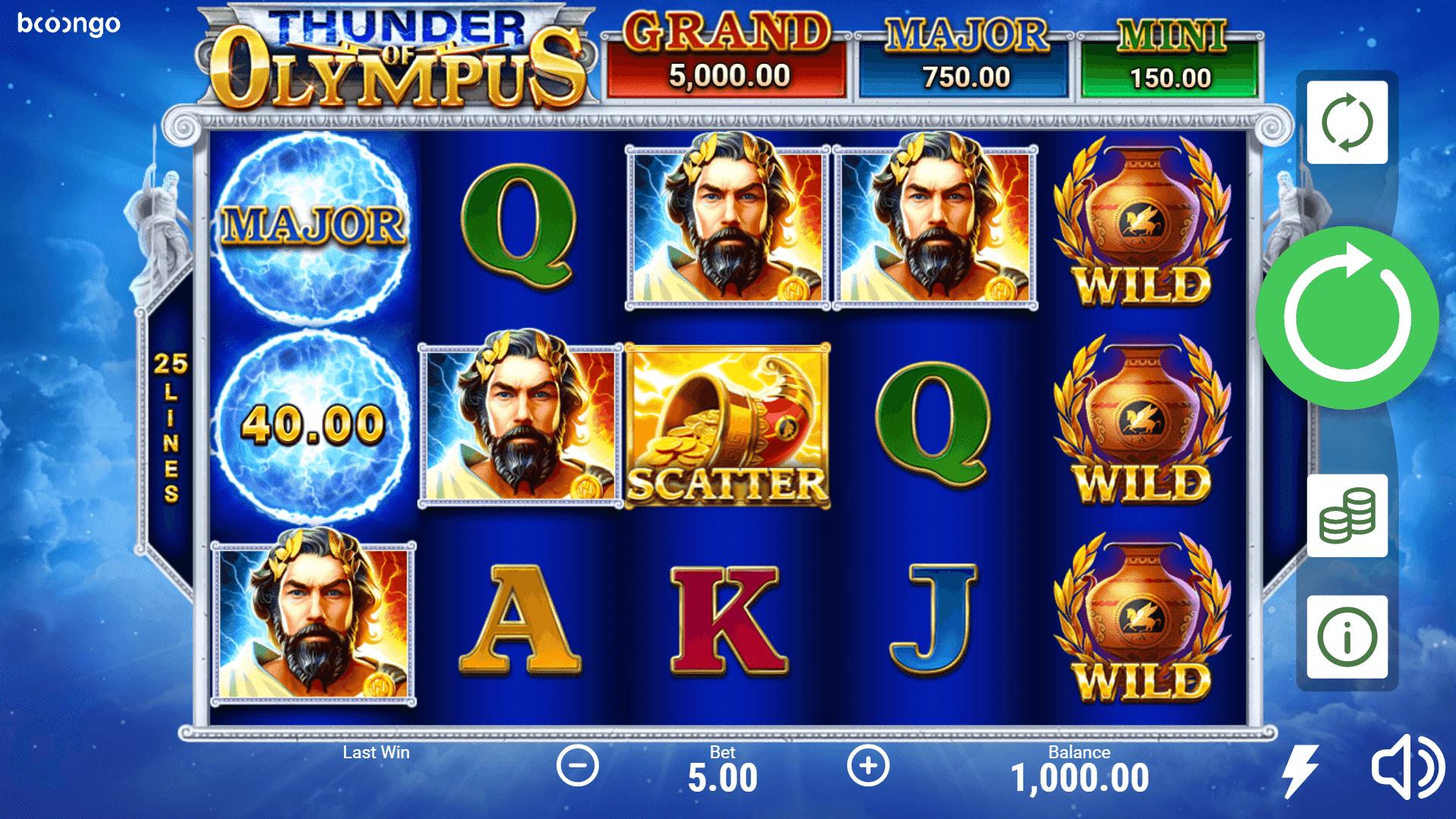 Thunder Of Olympus slot machine screenshot