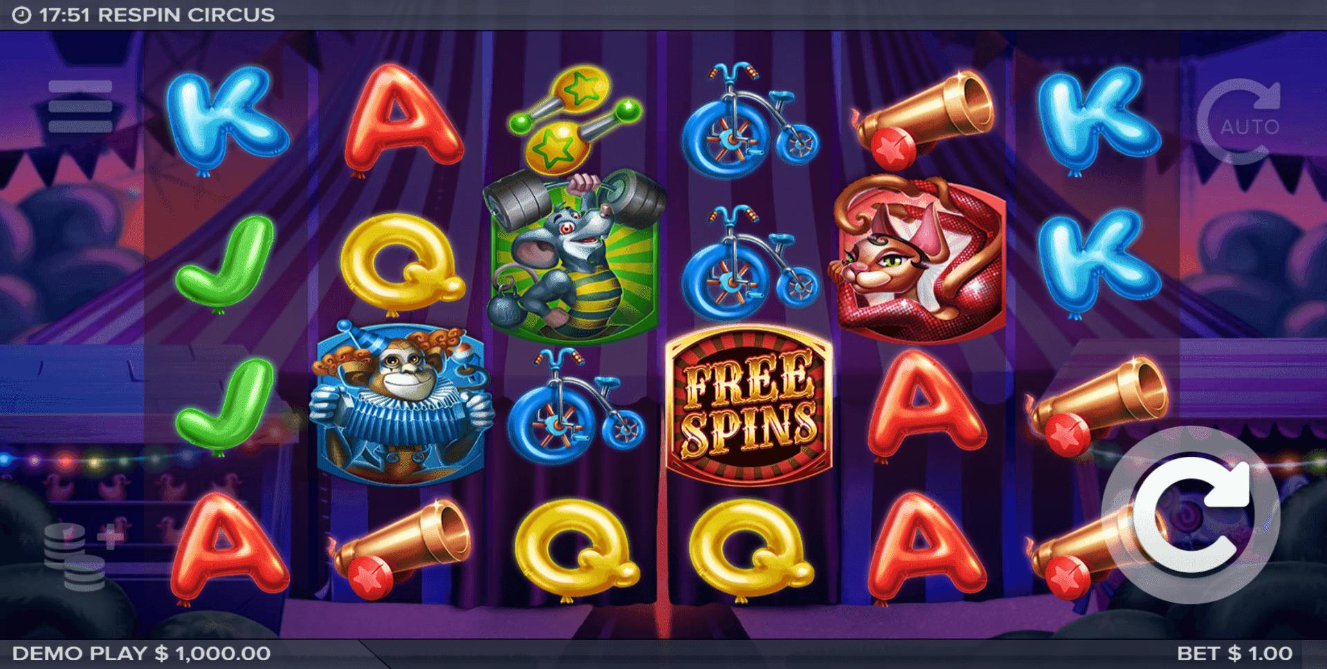 Respin Circus slot machine screenshot
