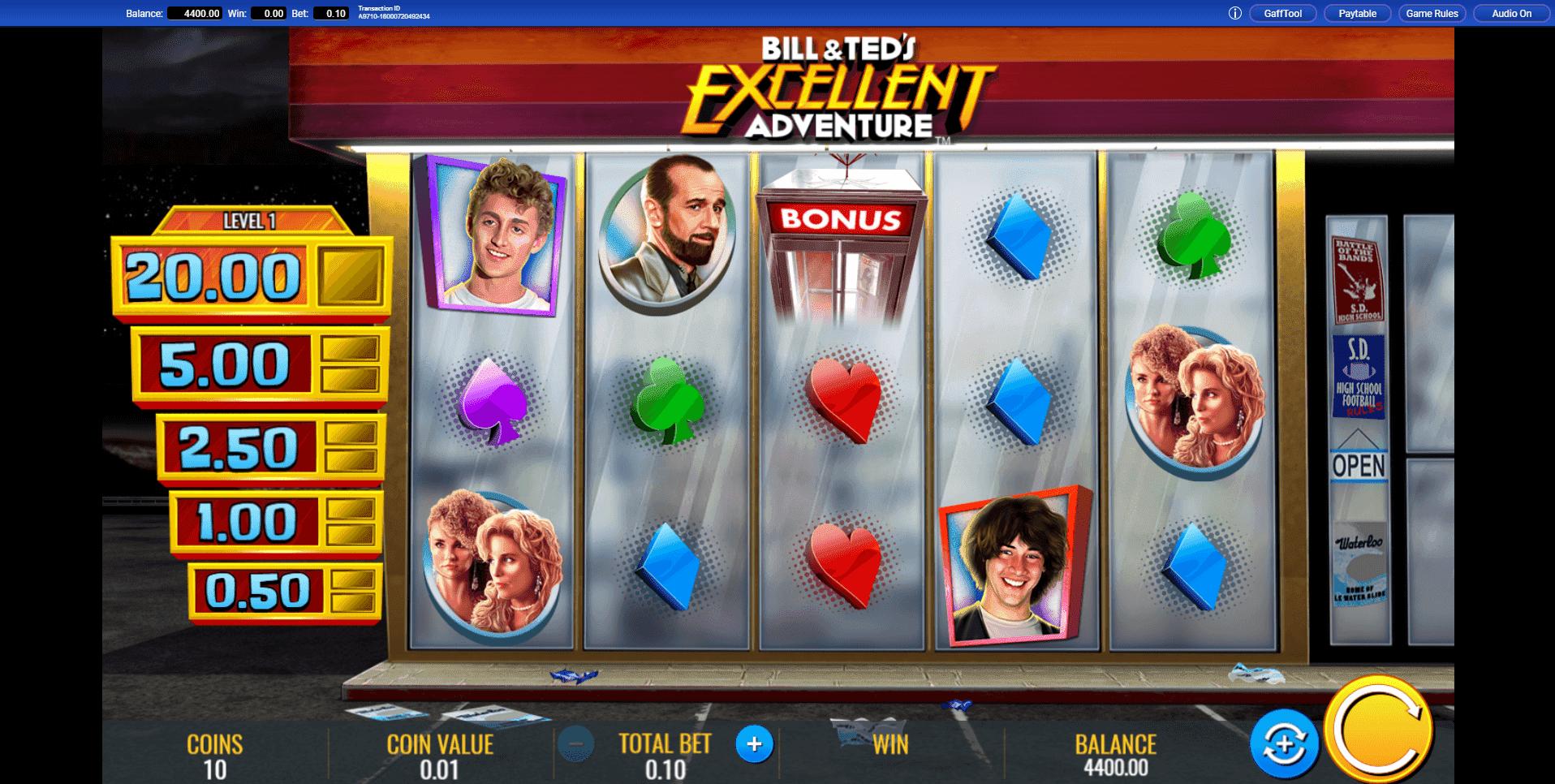 Bill Teds Excellent Adventure slot machine screenshot