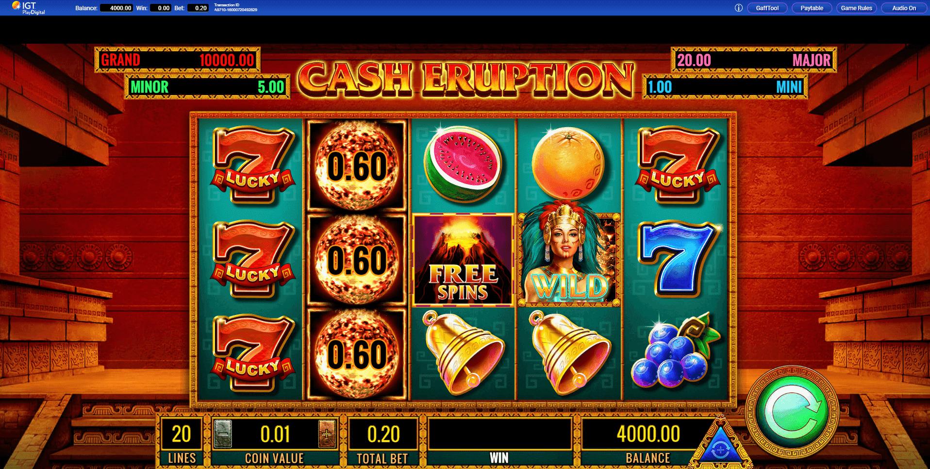 Cash Eruption slot machine screenshot