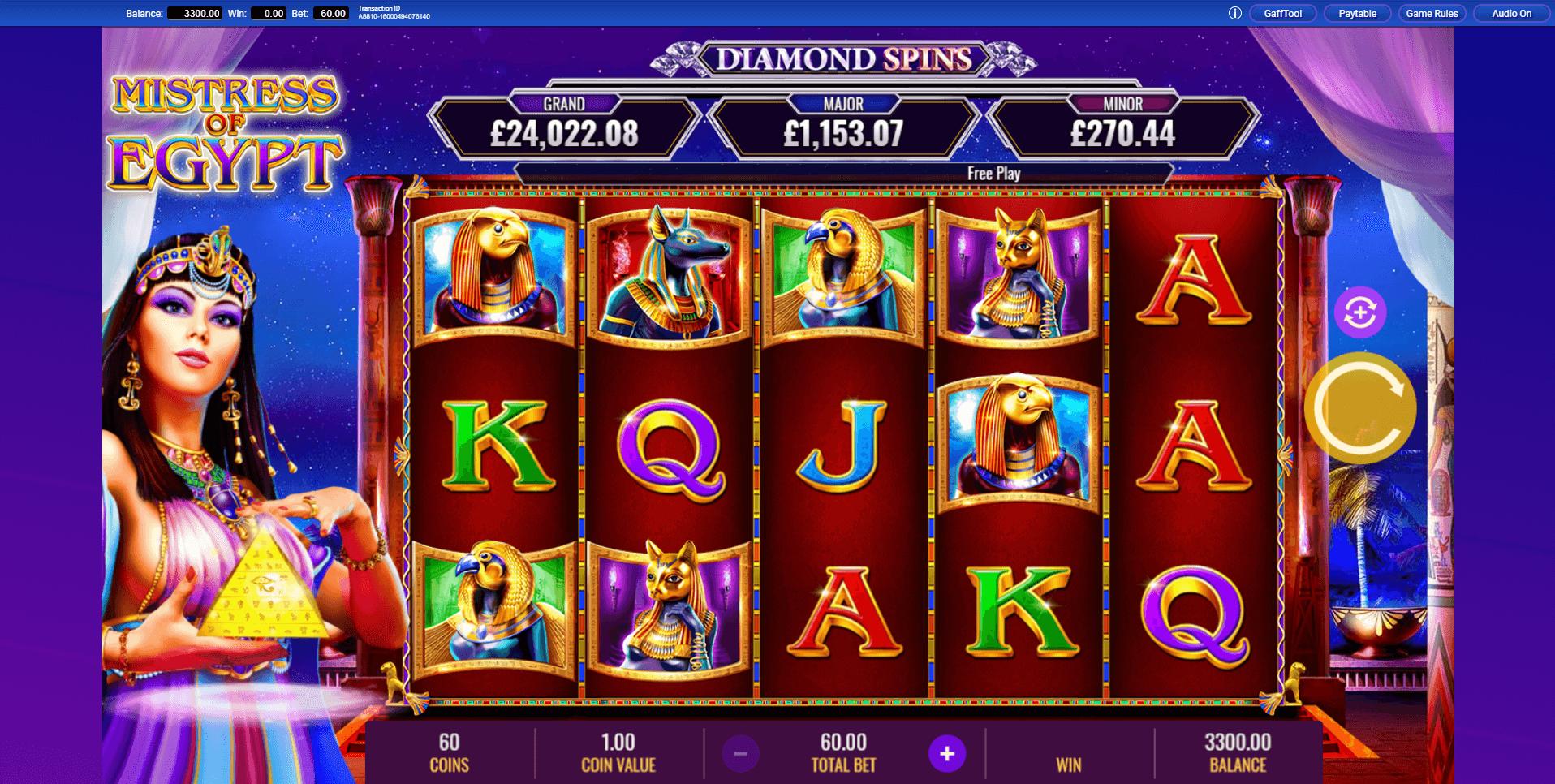 Mistress of Egypt Diamond Spins slot machine screenshot