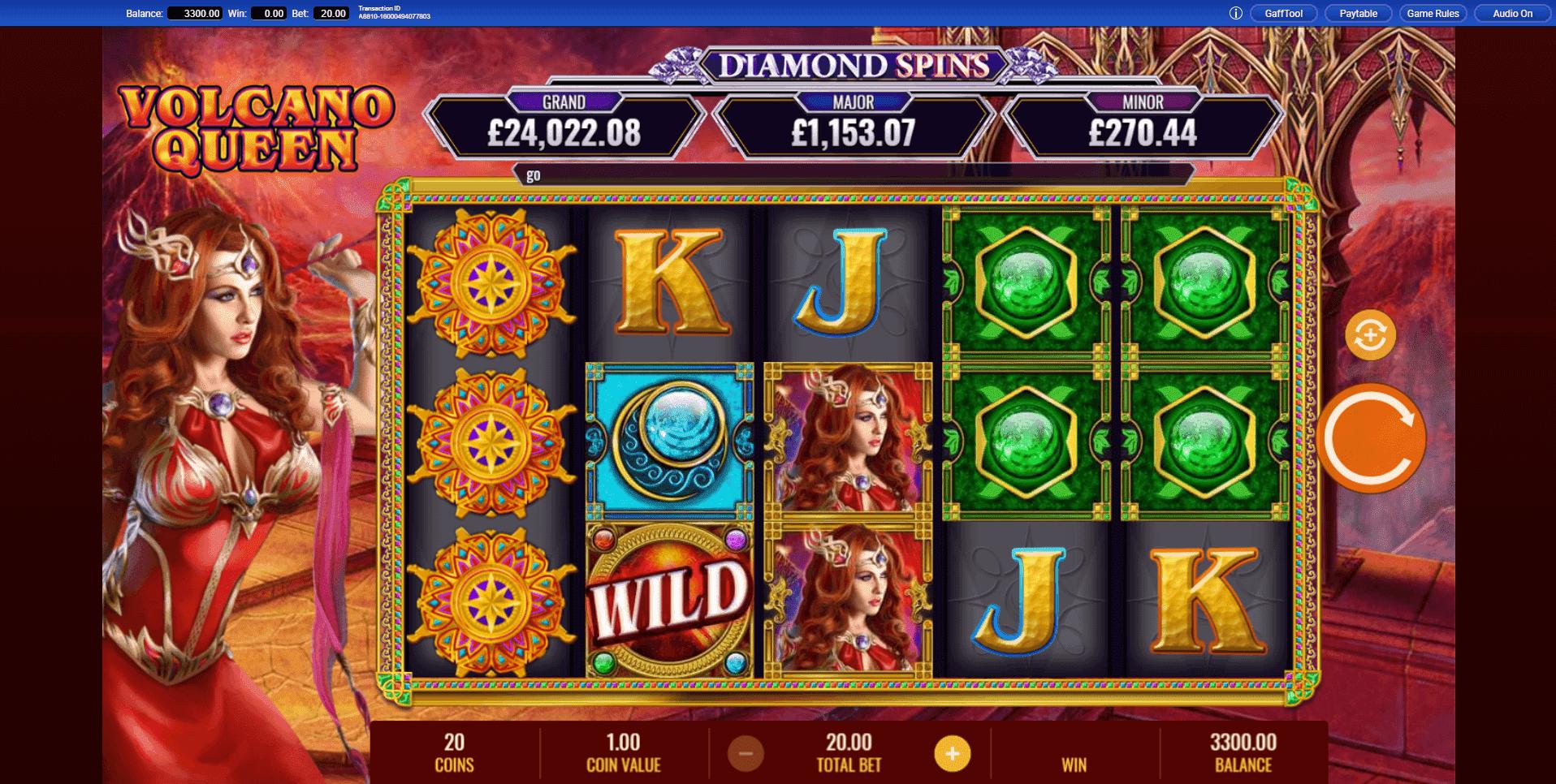 Volcano Queen Diamond Spins slot machine screenshot