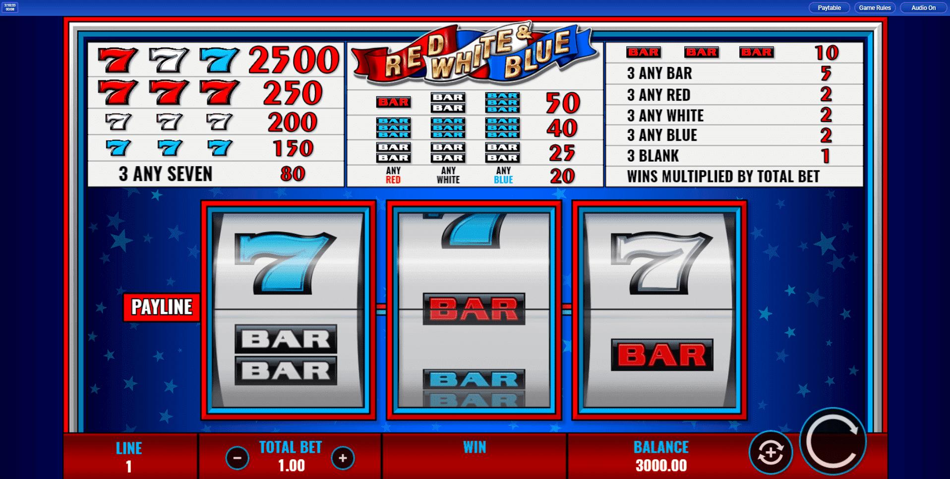 Red White Blue slot machine screenshot