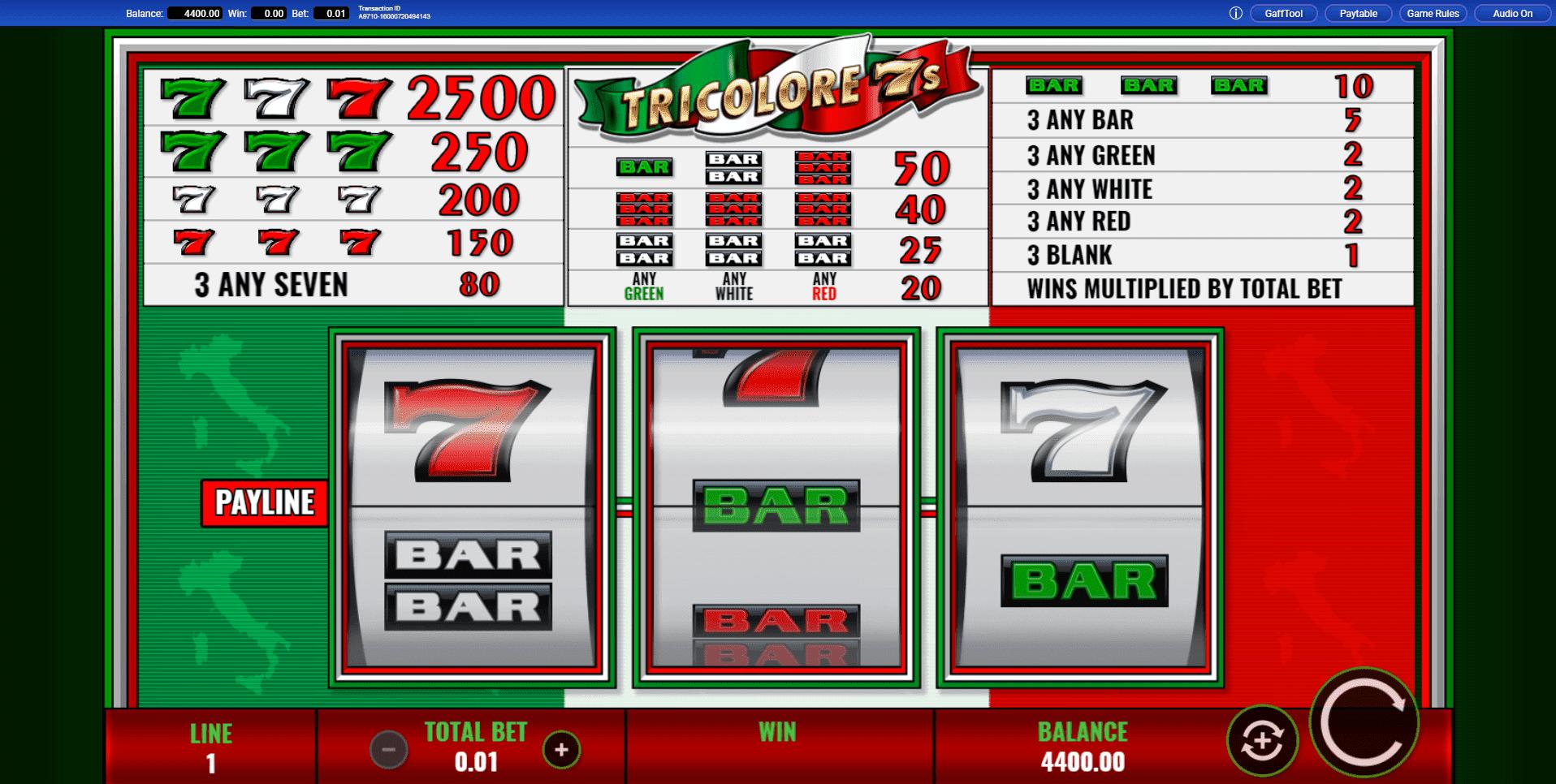 Tricolore 7s slot machine screenshot