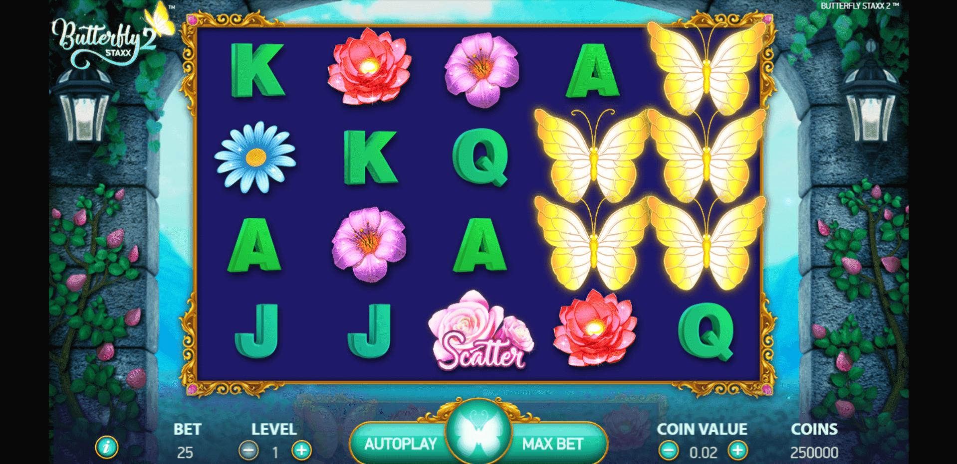 Butterfly Staxx 2 slot machine screenshot