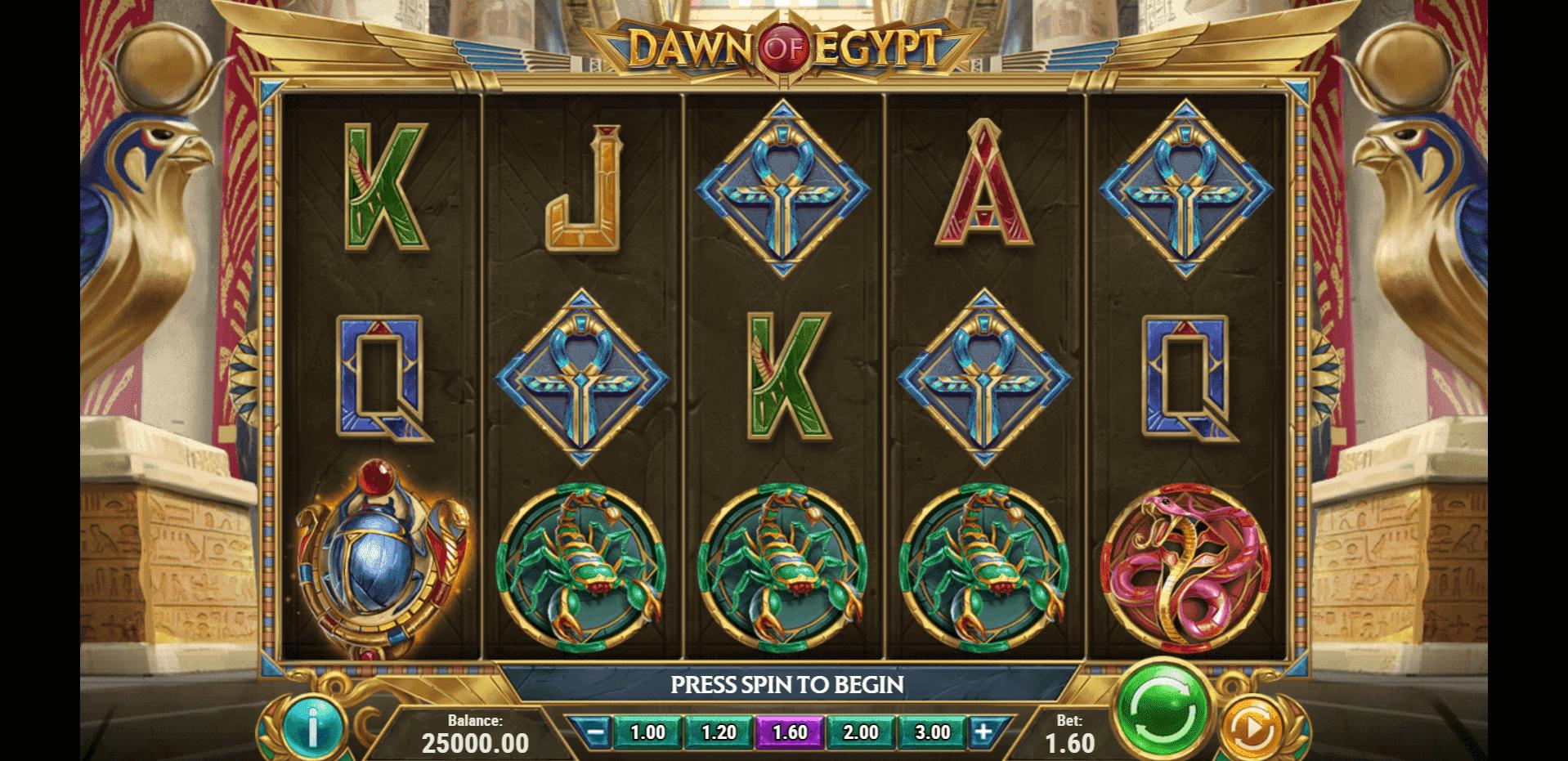 Dawn of Egypt slot machine screenshot