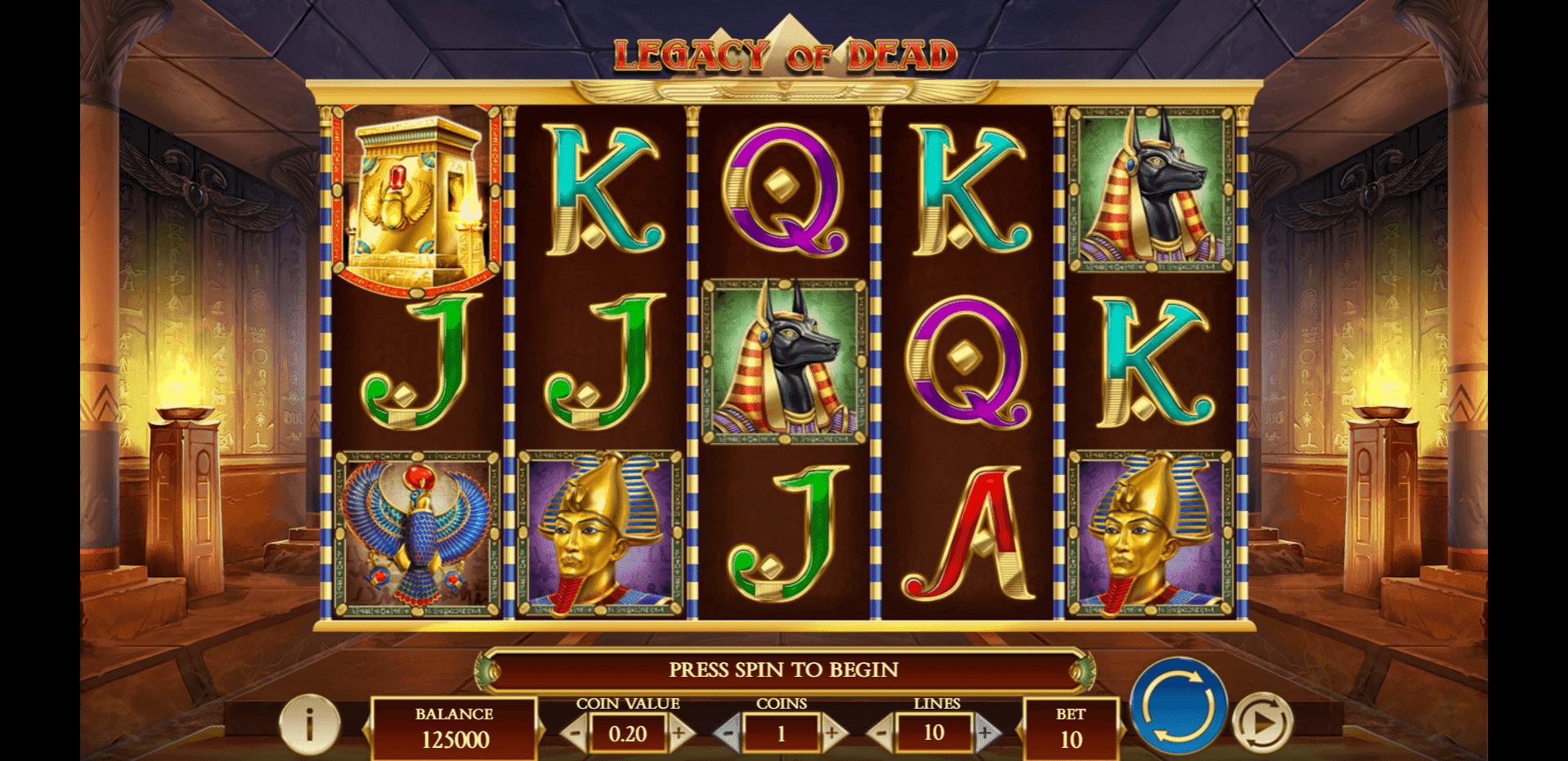 Legacy of Dead slot machine screenshot