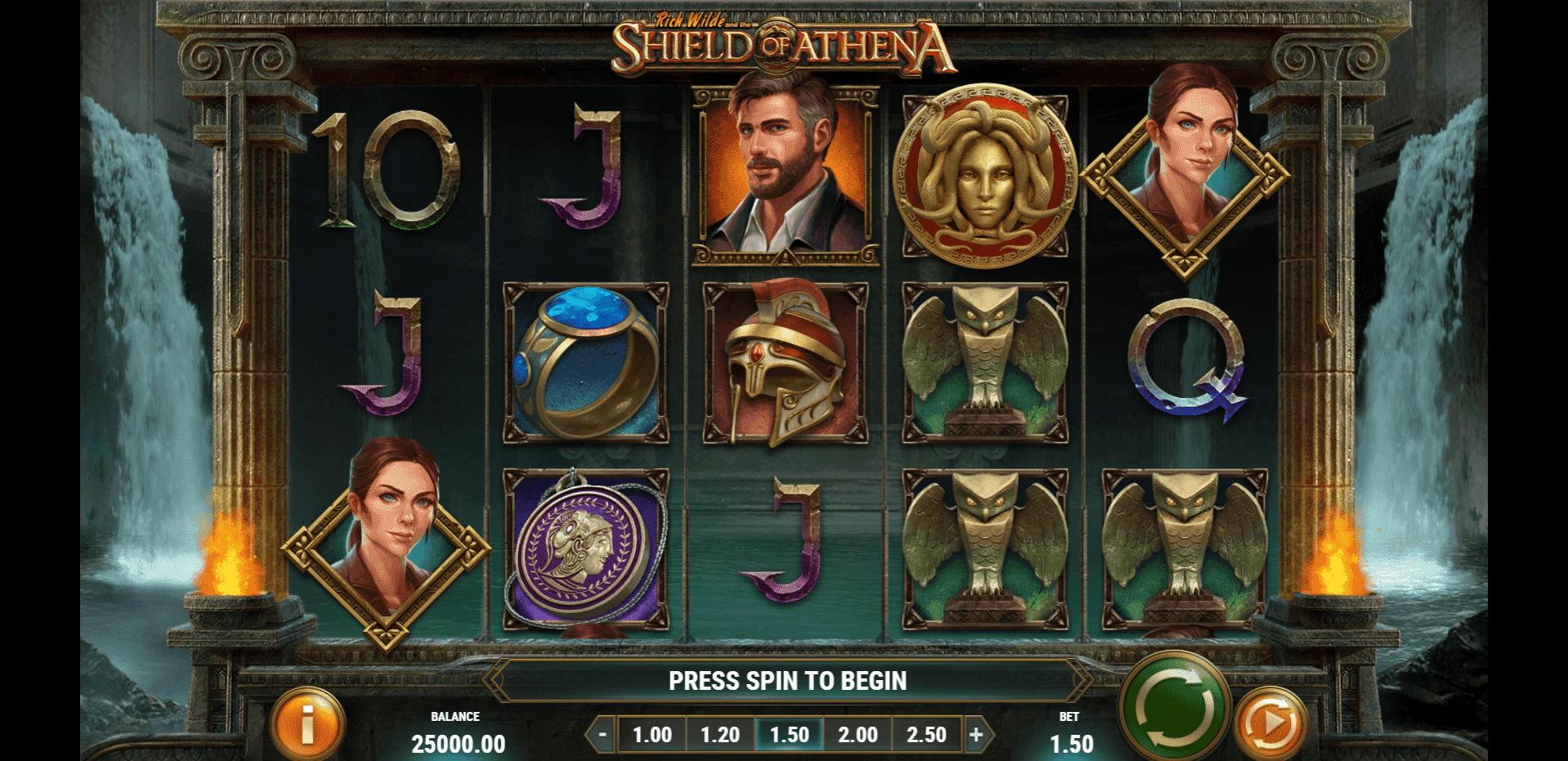 Rich Wilde and the Shield of Athena slot machine screenshot