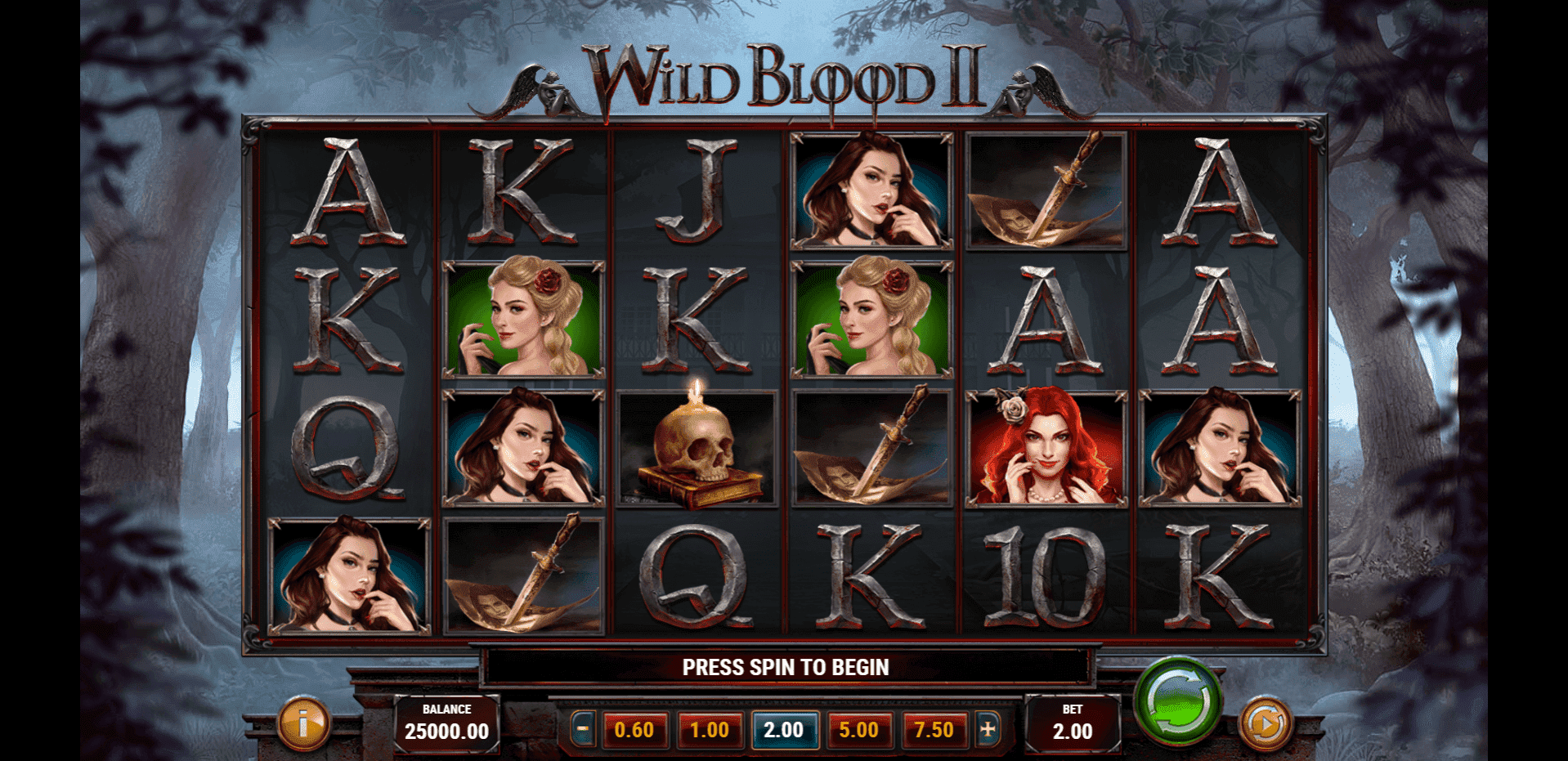 Wild Blood 2 slot machine screenshot