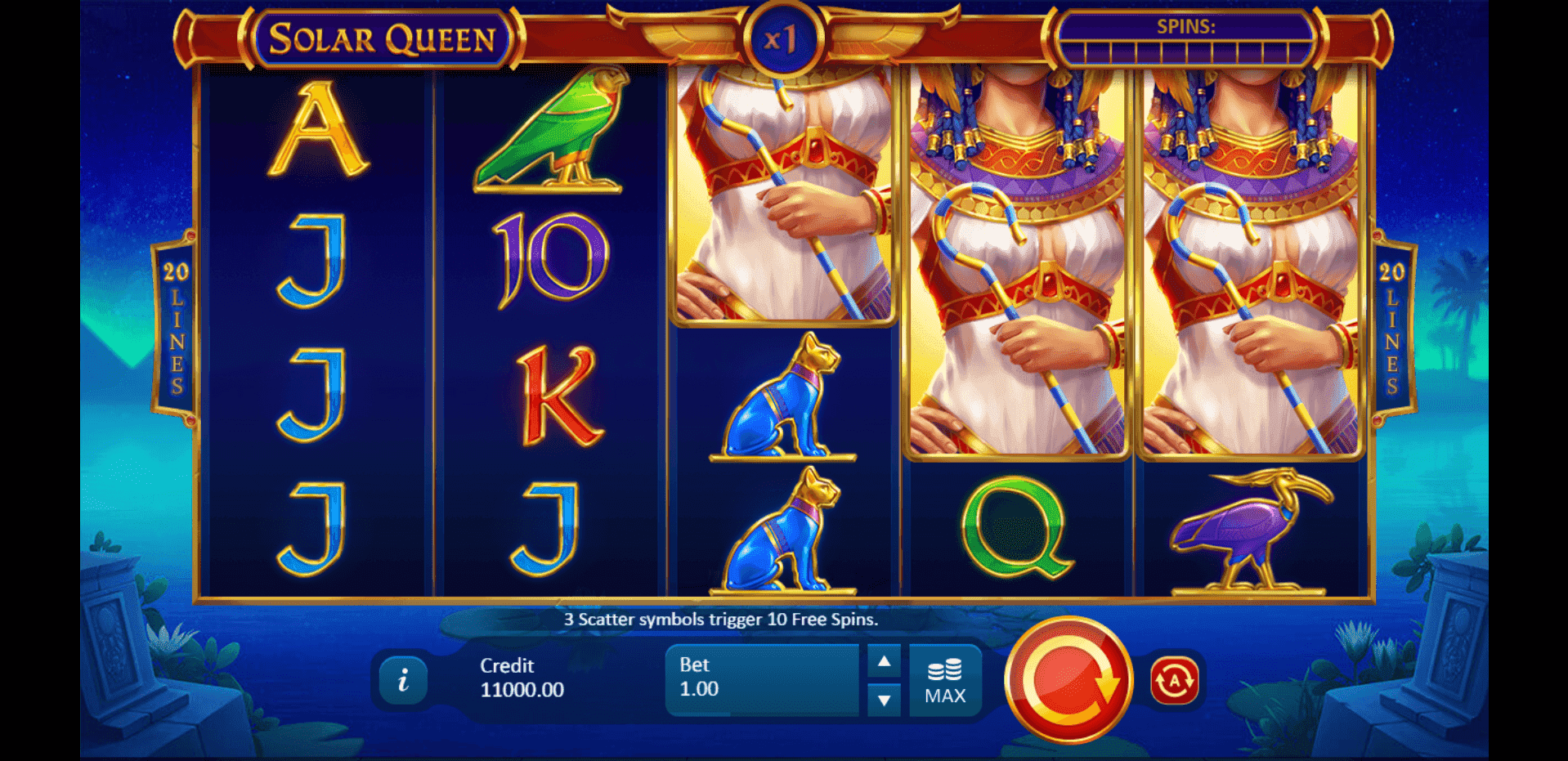 Solar Queen slot machine screenshot