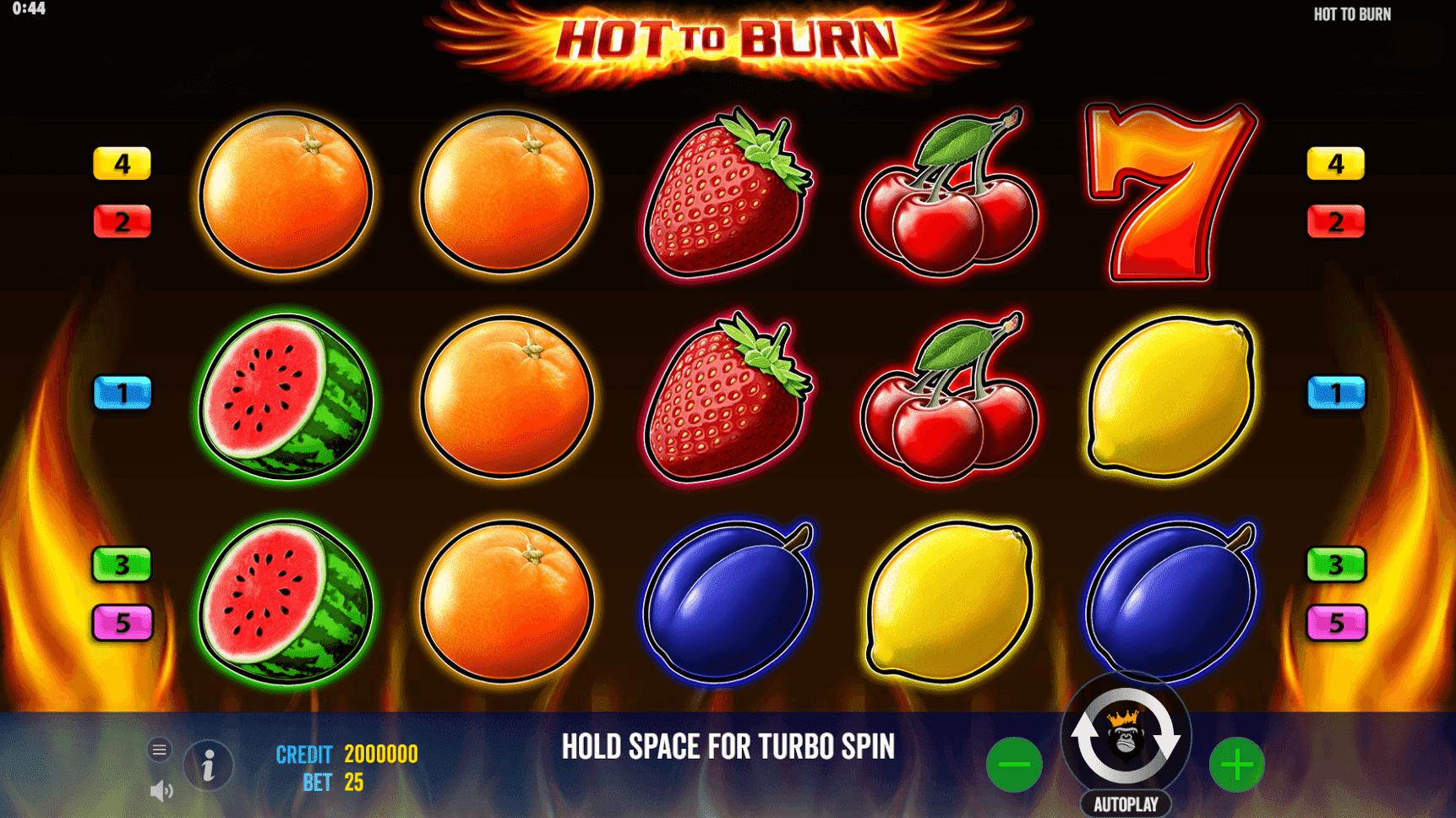 Hot to Burn slot machine screenshot