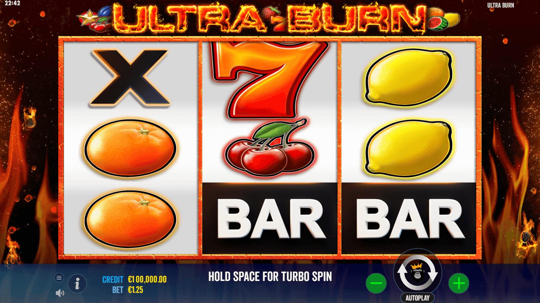 Ultra Burn slot machine screenshot