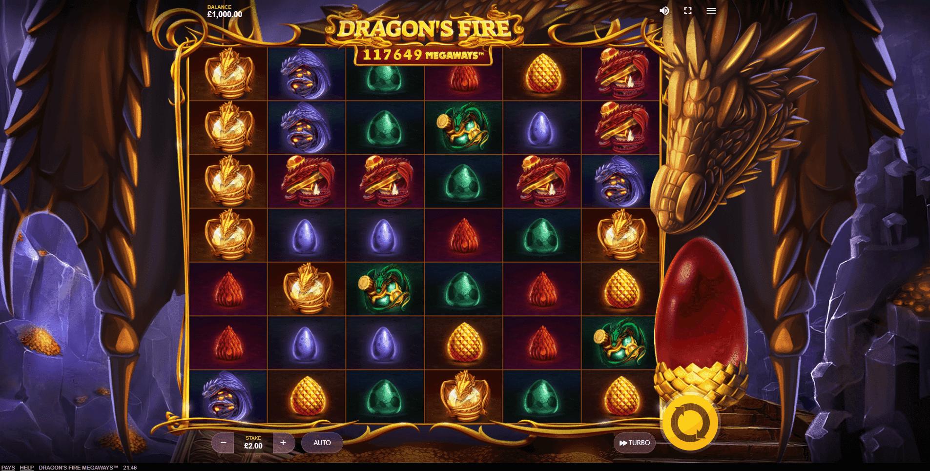 Dragons Fire Megaways slot machine screenshot
