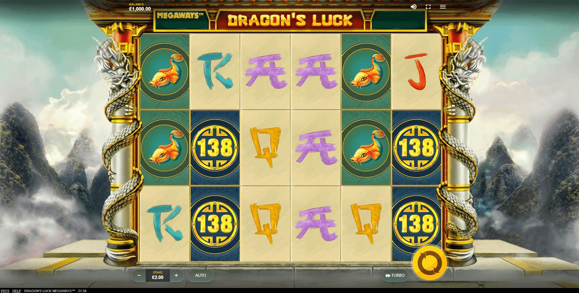Dragons Luck Megaways slot machine screenshot