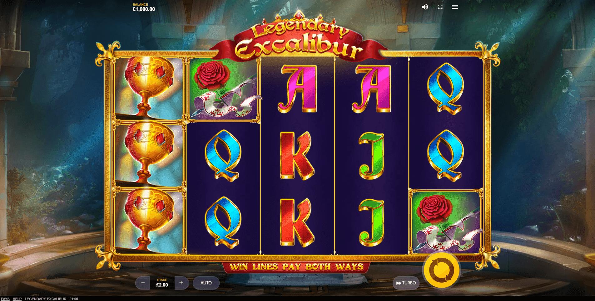 Legendary Excalibur slot machine screenshot