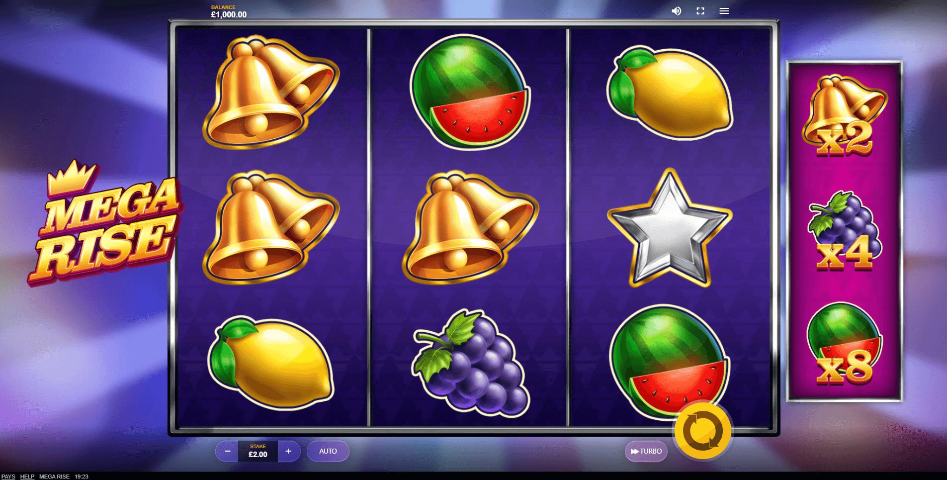 Mega Rise slot machine screenshot