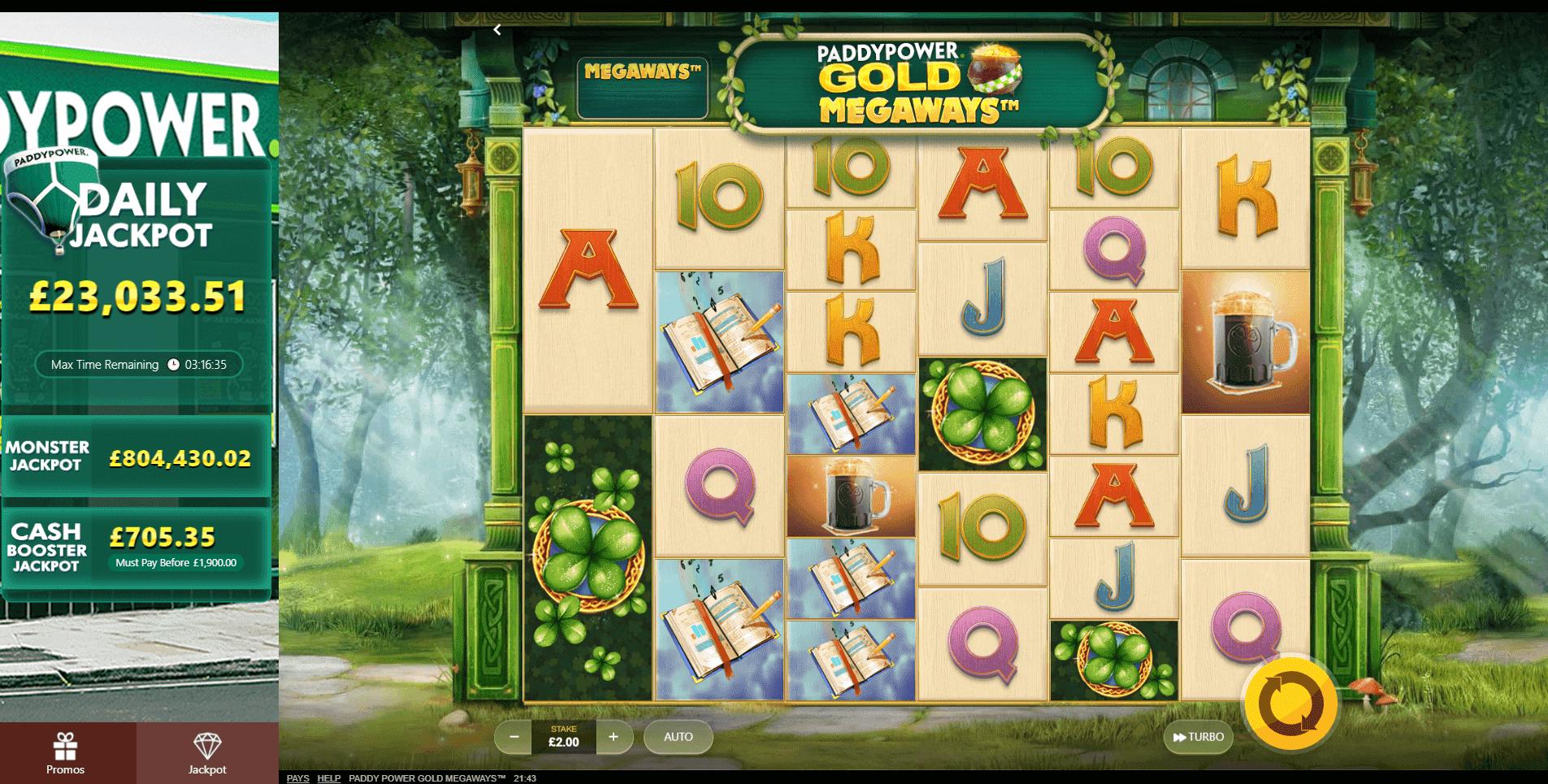 Paddy Power Gold Megaways slot machine screenshot