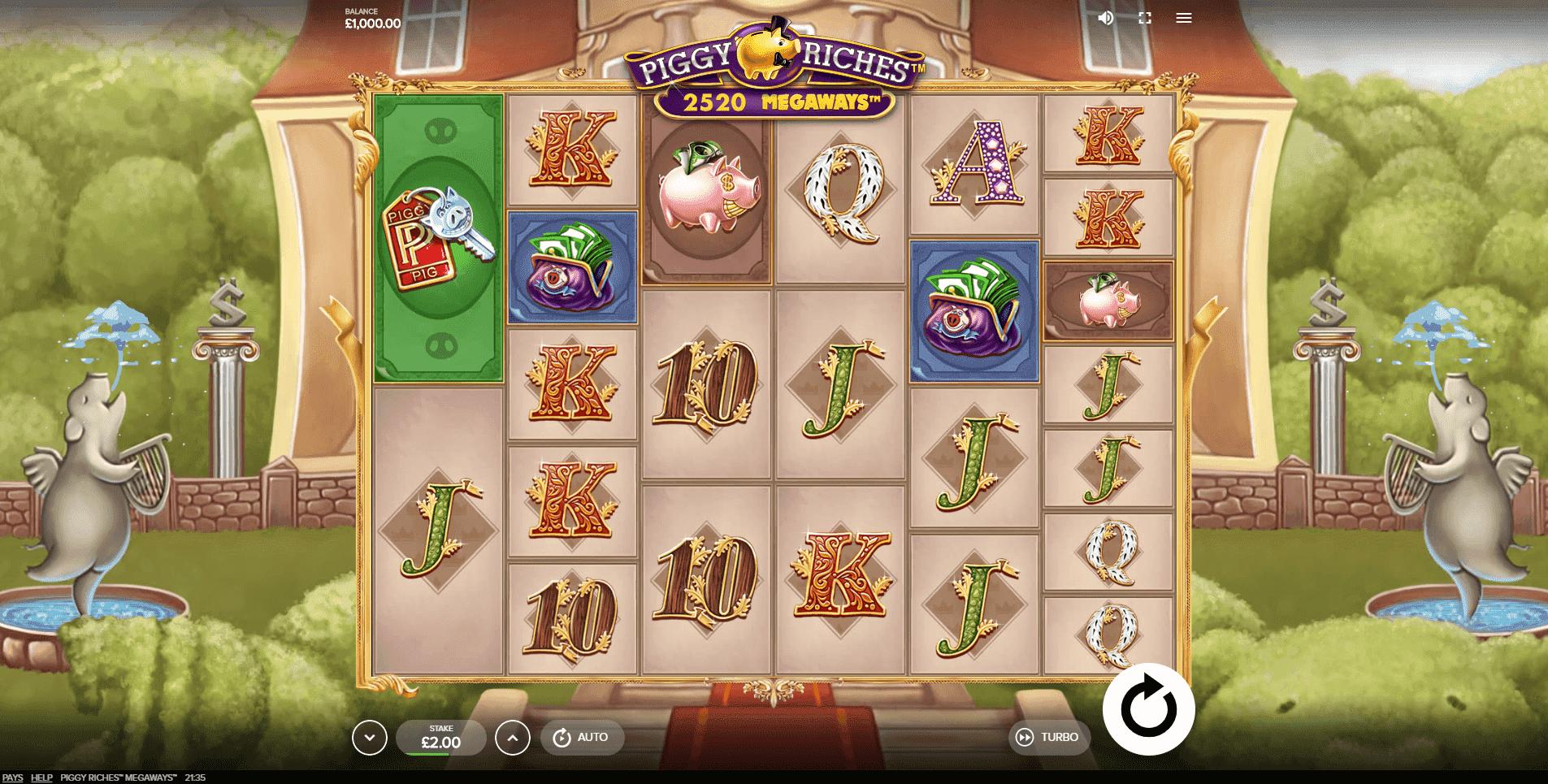 Piggy Riches Megaways slot machine screenshot