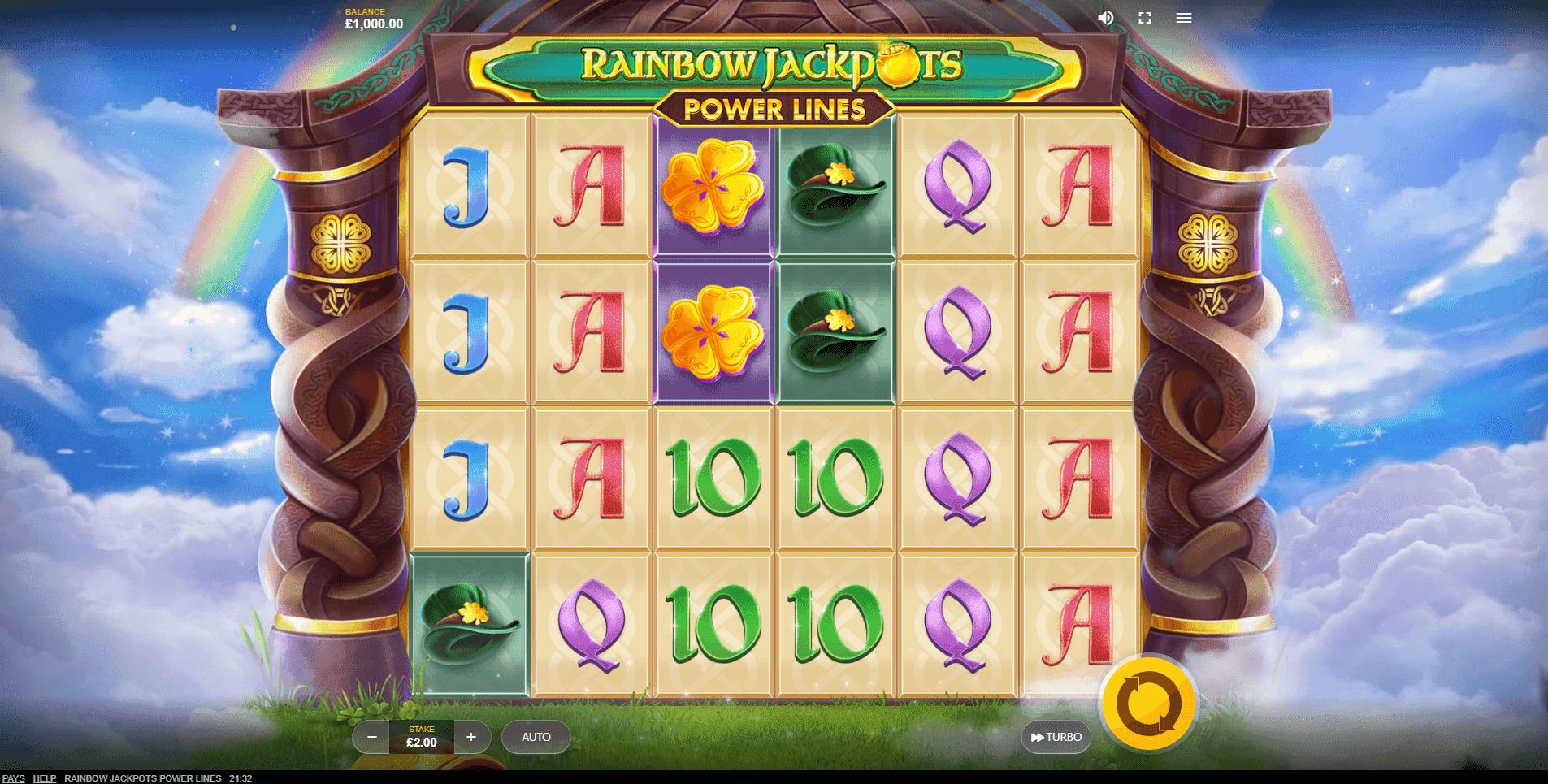 Rainbow Jackpots Power Lines slot machine screenshot