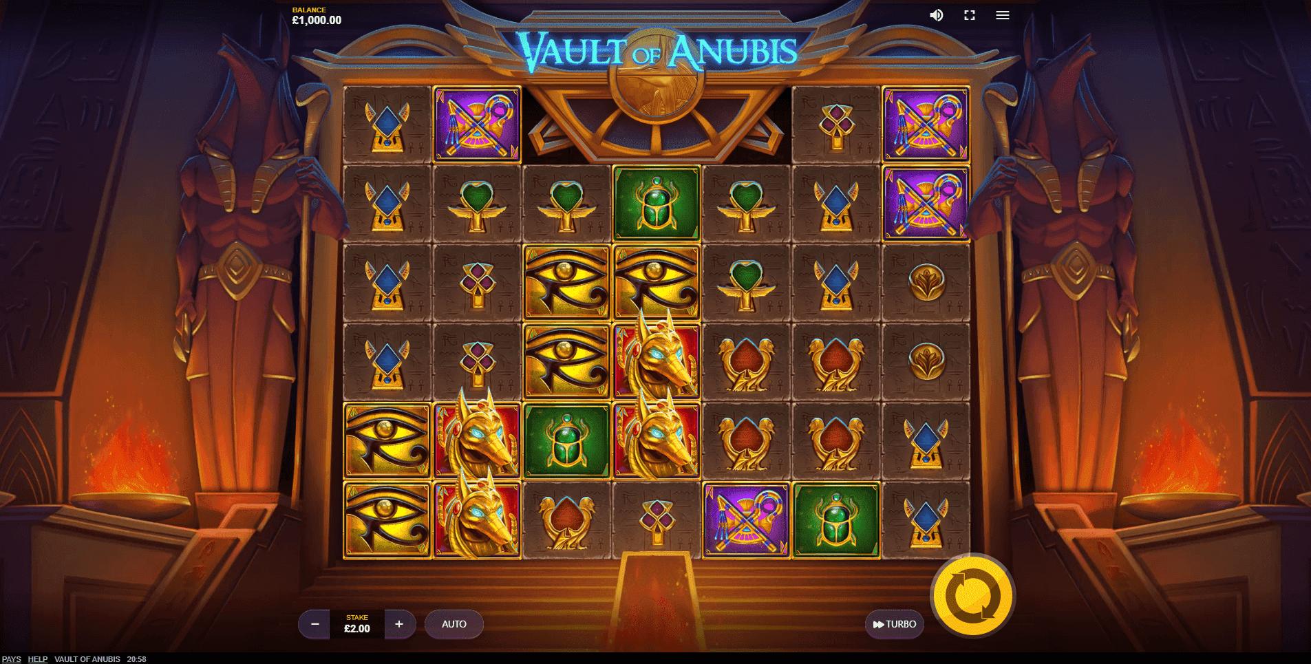 Vault of Anubis slot machine screenshot