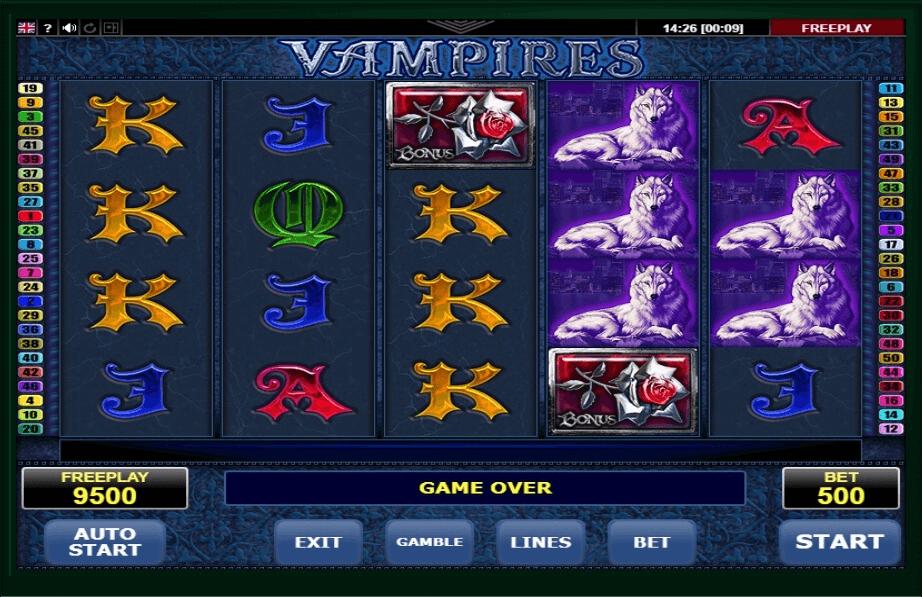 Vampires slot machine screenshot