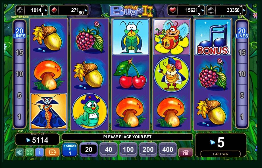 Crazy Bugs II slot machine screenshot
