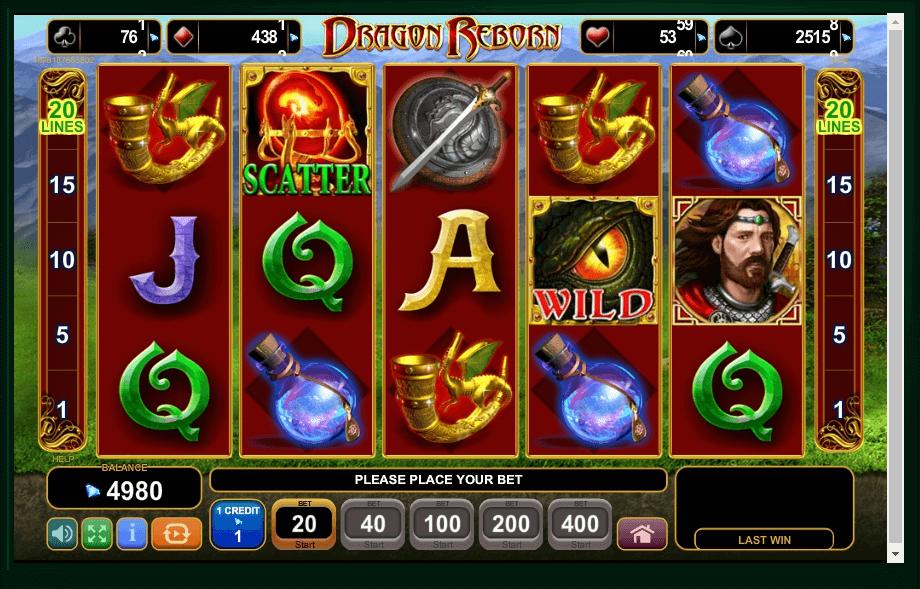 Dragon Reborn slot machine screenshot