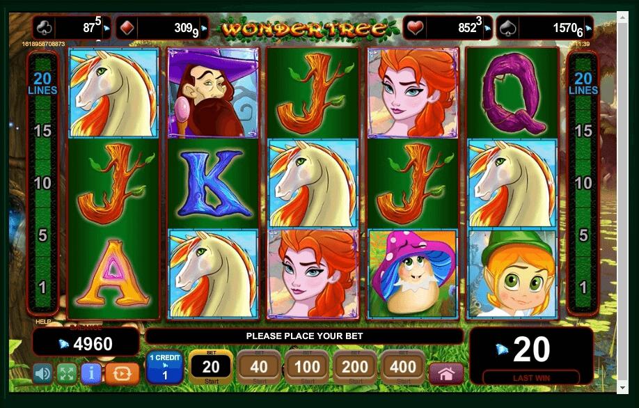 Wonder Tree slot machine screenshot